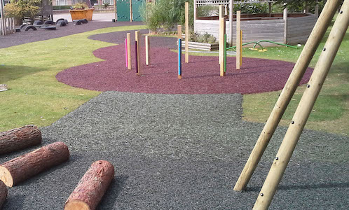 Rubber mulch installed under trees