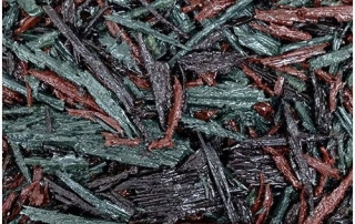 Red, brown, green mix bonded rubber mulch