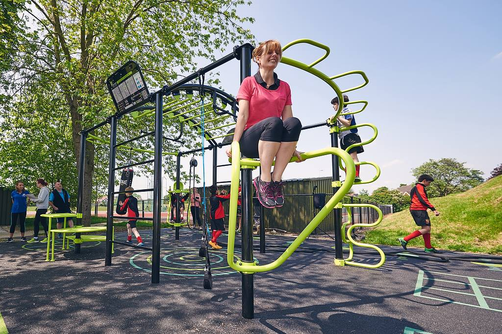 Outdoor fitness centre with RTC Safety Surfacing