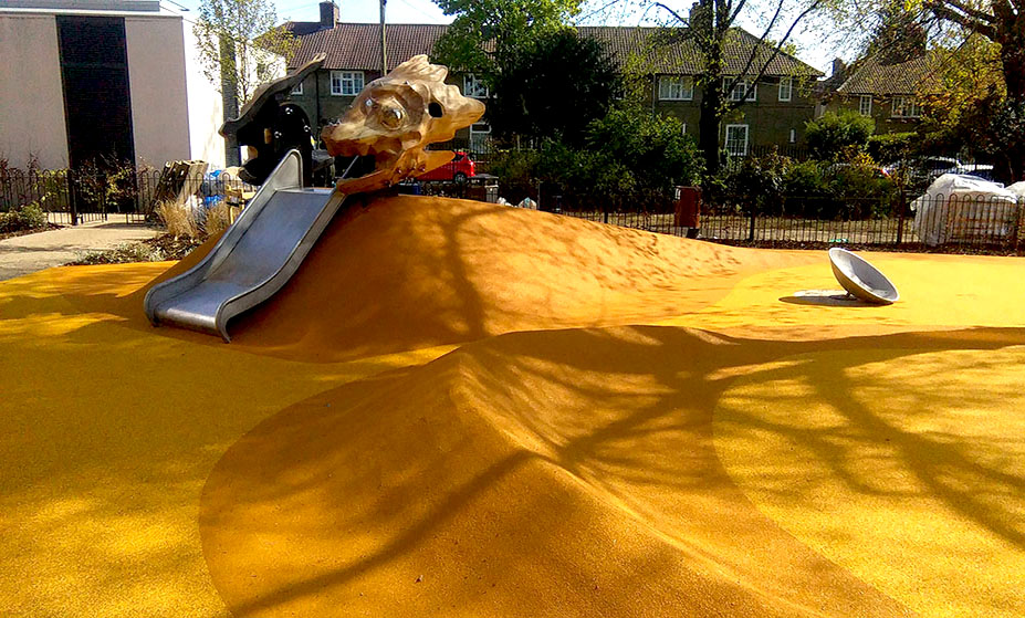 Yellow wet pour playground surfacing