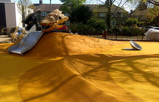 Yellow-wet-pour-playground-surfacing