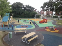 Wet Pour, Rubber Mulch & Enviro-Pave Used To Create New Play Area